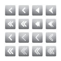 Set of white arrows in grey buttons. Vector Illustration and Icons. Royalty Free Stock Photo