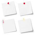 Collection of white note papers isolated on the background Royalty Free Stock Images