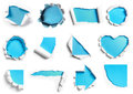Collection of white torn paper with blue background in many shap