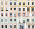 Collection of windows from Telc, Czech Republic Stock Photography