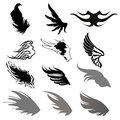 Collection wing silhouette illustrations Stock Photo
