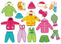 Collection of winter children s clothing vector illustration Royalty Free Stock Photo