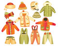 Collection of winter childrens clothing Royalty Free Stock Photo