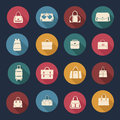 Collection of women and men bags illustration set icons handbags travel bag in flat design Stock Photography