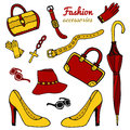 Collection women s accessories fashion set hand drawn vector isolated Stock Image