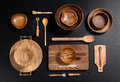 Collection of Wood Kitchen Bowls and Utensils Royalty Free Stock Photo