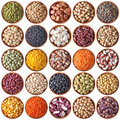 Collection of wooden bowls with legumes Stock Image