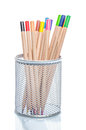 Coloured pencils in a desk tidy Royalty Free Stock Photo