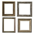 Collection of wooden frames four for painting or picture on white background Royalty Free Stock Image