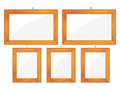 A collection of wooden frames over white background Royalty Free Stock Photo