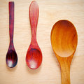 Collection of wooden kitchen spoons with retro filter effect Stock Photo