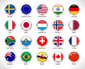 A collection of world flags badge in glossy button - vector eps10 Royalty Free Stock Photo