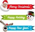 Collection xmas banner santa claus snowman reindeer