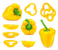 Collection of yellow bell peppers and slices Royalty Free Stock Photo