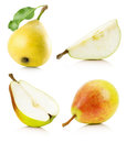 Collection of  yellow pears isolated on the white background Royalty Free Stock Photo