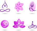 Collection of yoga icons Royalty Free Stock Photos