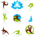 Collection of yoga people logos, vector icons Royalty Free Stock Images