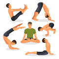Collection of yoga poses with lotos in centre on white, bakasana position