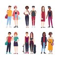 Collection of young teenage couples dressed in trendy clothes. Set of pairs of stylish teen boys and girls. Modern