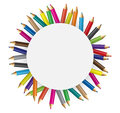 Collections of colour pencils in concept circular illustration Royalty Free Stock Photo