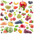 Collections of fruits isolated on white background Royalty Free Stock Images