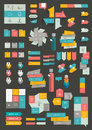 Collections of info graphics flat design diagrams various color schemes boxes speech bubbles for print or web vector Stock Images