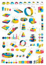 Collections of infographics d design diagrams various color templates charts and schemes boxes and pie graphsfor print or web Stock Image