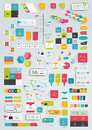 Collections of infographics flat design template various color schemes boxes speech bubbles charts vector illustration Stock Image