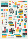 Collections of infographics flat design template various color schemes boxes speech bubbles charts vector illustration Stock Photos