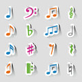 Collections of music notes vector note icon on sticker set Stock Photo