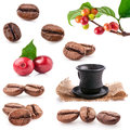 Collections of roasted and red coffee beans drink a cup of coffee isolated on white background Stock Photo
