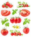Collections of tomatoes isolated on white background Royalty Free Stock Photo