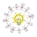 The collective intelligence a business team around an idea bulb it is a metaphor of concept of or crowd solving Stock Photos