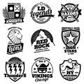 College athletic labels, varsity emblems, vintage sports teams badges, university t shirt design vector set Royalty Free Stock Photo