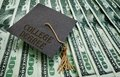 College degree money graduation cap on assorted hundred dollar bills Stock Photography