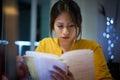 College Girl Student Preparing Exam At Night Royalty Free Stock Photo