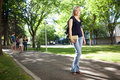 College Girl Walking to Class Royalty Free Stock Images
