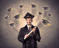 College graduate with many flying hats