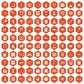 100 college icons hexagon orange