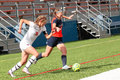 College NCAA DIV III Women's Soccer Royalty Free Stock Photo
