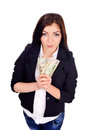 College pretty girl holds few cash in hands got a foxy look Stock Photos