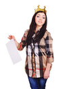 College pretty girl wearing a crown holding a list of paper white background Stock Photos