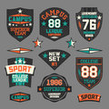 College sport emblem set of emblems retro Stock Photo