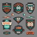 College sport emblem set of emblems retro Stock Photo