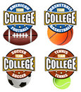 College sport's labels Stock Photo