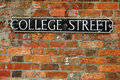 College Street roadsign Royalty Free Stock Photo