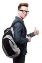 College student with back pack Royalty Free Stock Photo