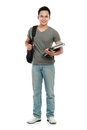 College student with book and bag Stock Image