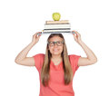 College student charged with books on her head isolated white background Royalty Free Stock Images