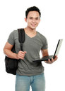 College student with laptop Royalty Free Stock Image